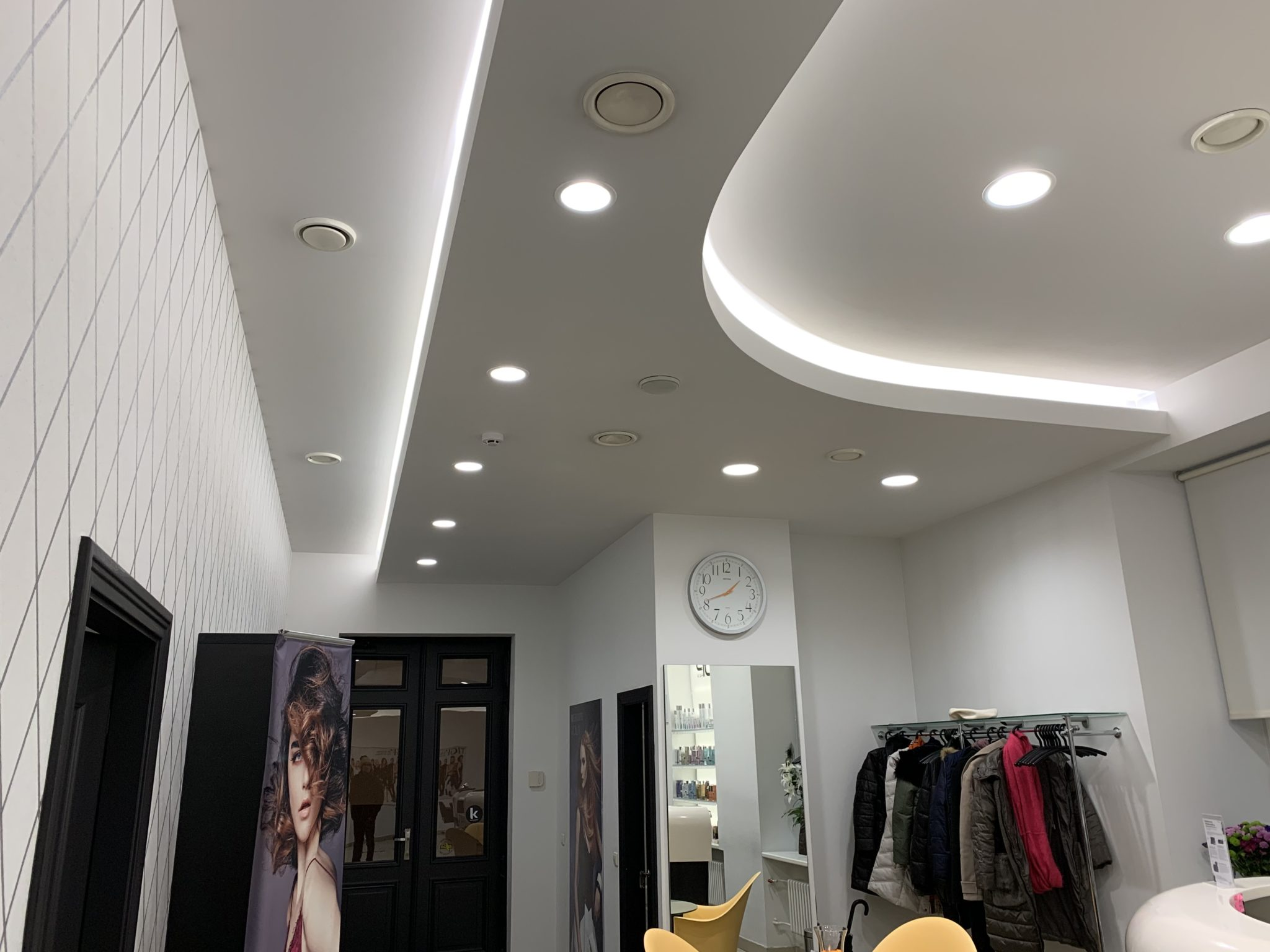 "Philips Led spots and ceiling lighting near the entrance in beauty salon ""Rīga Top Hair"""