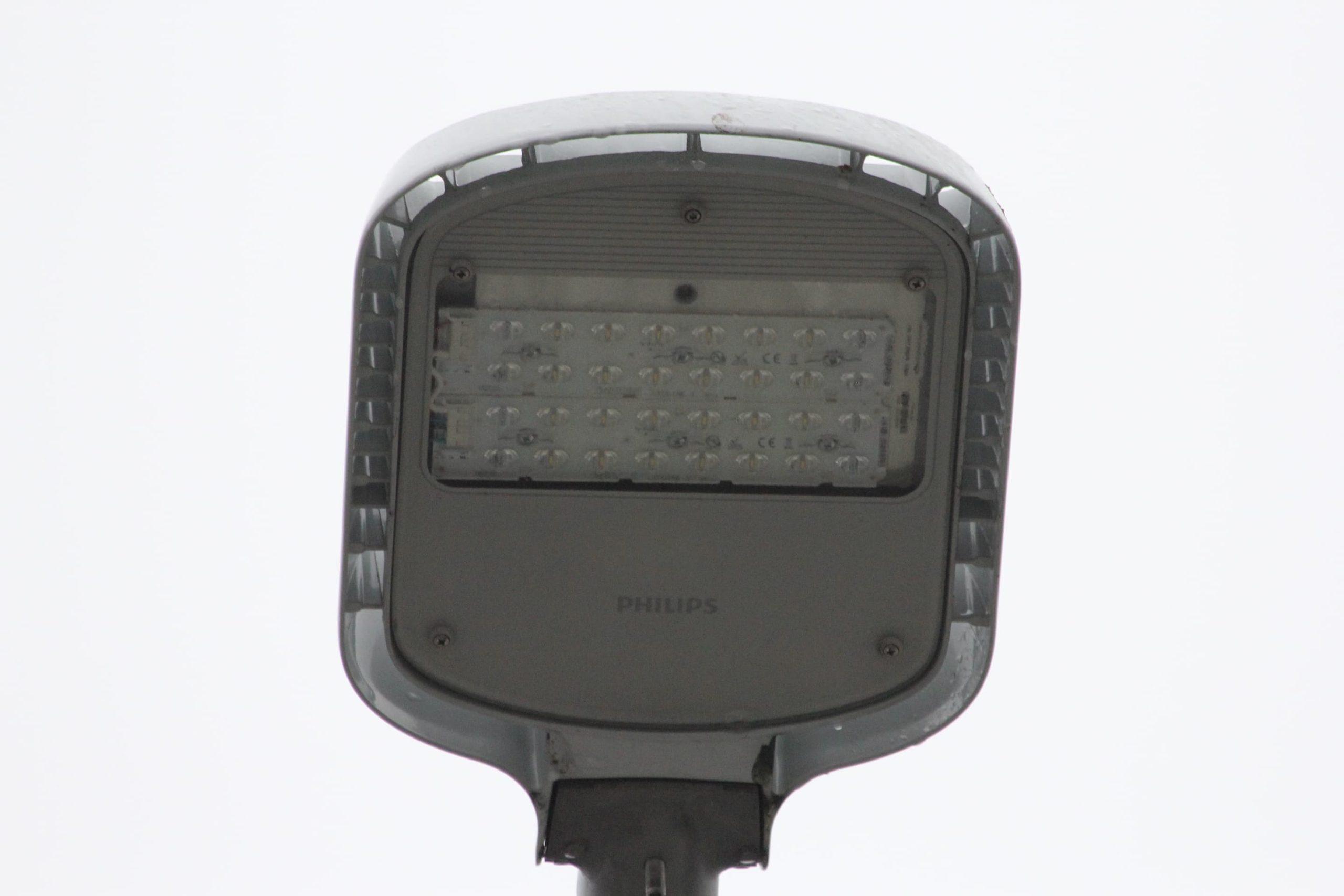 Close-up of a Philips luminaire in Biķernieki track