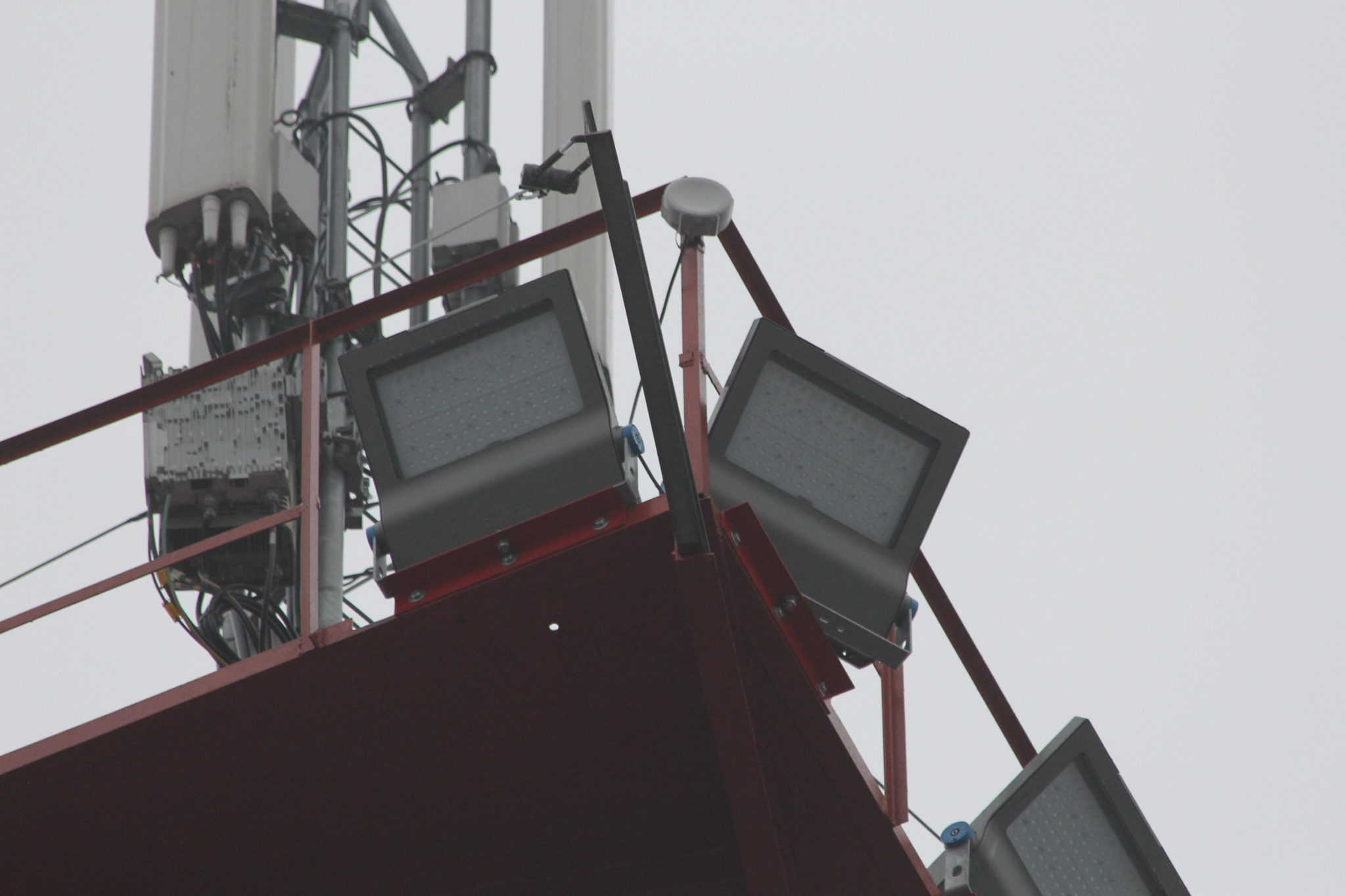 Close-up of two Philips Led floodlights at Biķernieku track
